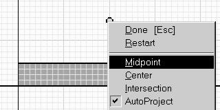 Right click to select Midpoint to have your mouse locate the midpoint.