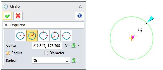 boundary points, you can draw the only circle. Figure 21 Center-Radius method What s the meaning of Location option?