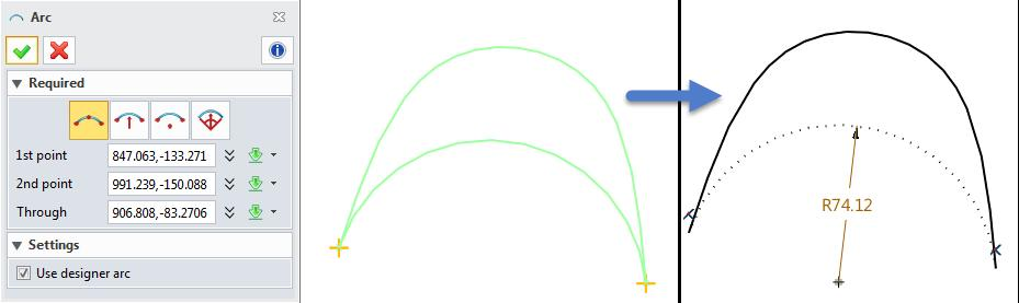 A designer arc is a NURB curve that matches the tangency of the arc but has zero curvature at the end points.