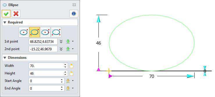 Figure 25 Ellipse 2.2.4 Rectangle and Polygon 1. Sketch ribbon toolbar->drawing-> Four different types are provided to create the rectangle.