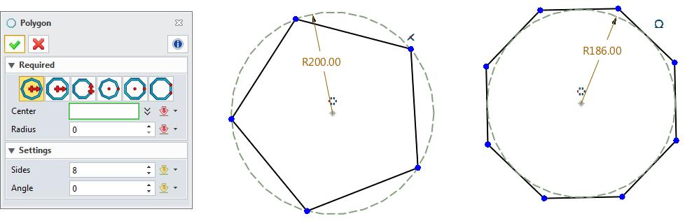 Figure 27 Polygon During sketch geometry creation, the polygon constraint is automatically added. The dimension constraint is should be added manually.