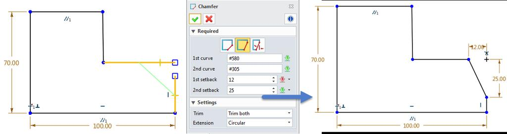1.3.2 Chamfer 1. Sketch ribbon toolbar->edit Curve-> There are three methods for creating sketch chamfer. E.g. 2 setback values type.
