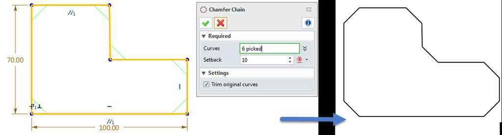 STEP 03 According to the requirements, select the suitable parameters to define trim type and curve extension type(refer to the Figure 14).