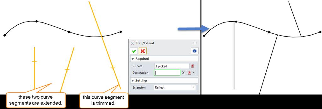 Figure 51 Trim or Extend 4. Sketch ribbon toolbar->edit Curve-> STEP 01 Select the curves as the boundary curves (blue curves in below image).