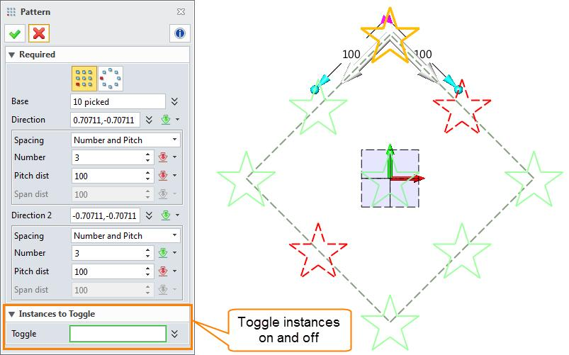 Sketch ribbon toolbar->basic Editing-> In 2D sketch environment, linear pattern and circle pattern are provided. Type1: Linear Pattern STEP 01 Select the entities to be patterned.