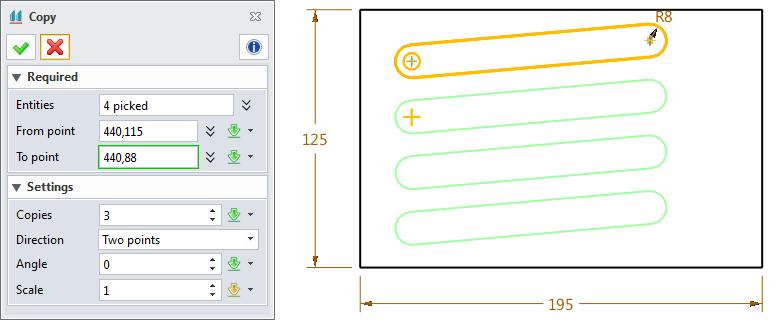 1. Sketch ribbon toolbar->basic Editing-> The copy feature includes all parameters of move feature and the copy number parameter. STEP 01 Select the slot geometry.