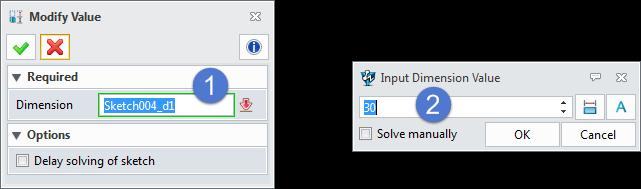 Figure 90 Quick Dimension-Picking an Arc Method2: Constraint ribbon toolbar->dimension-> Select the arc and specify the location of dimension