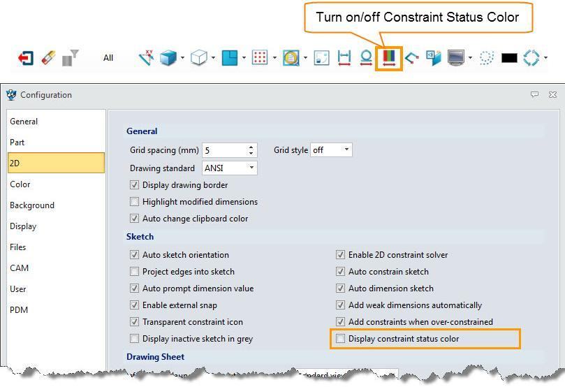 (3) How to turn on/off constraint status color?