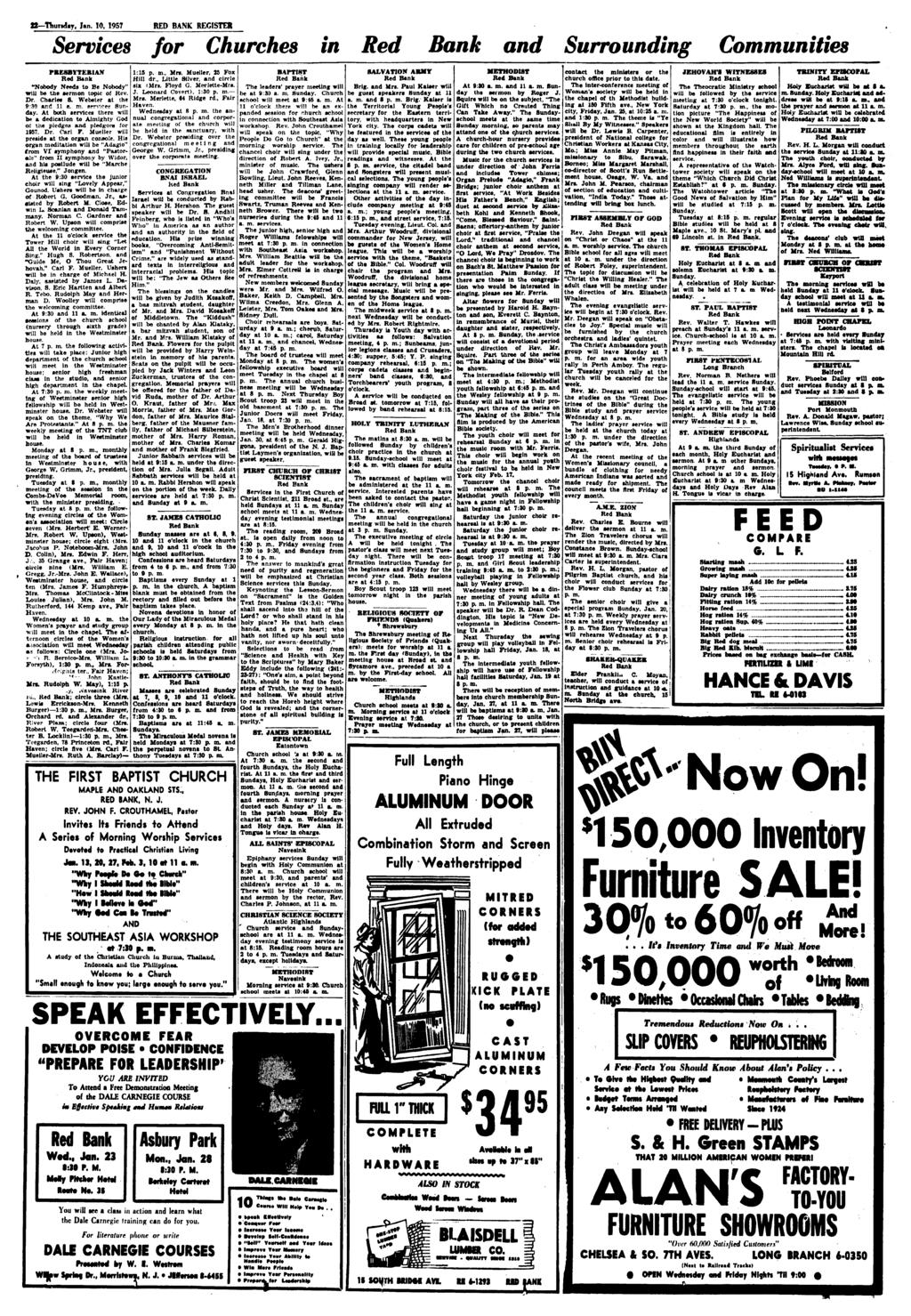 "tt Thursday, Jan. 10, 1957 RED BANK REGISTER Services for Churches in Red Bank and Surrounding Communities PRESBYTERIAN Red Bank ""Nobody Needs to Be Nobody"" will be the sermon topic of Rev. six (Mr»."