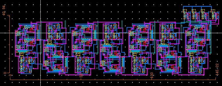 Figure 28: Layout of T flip-flop The layout of the ROM access and multiplexer clocks is