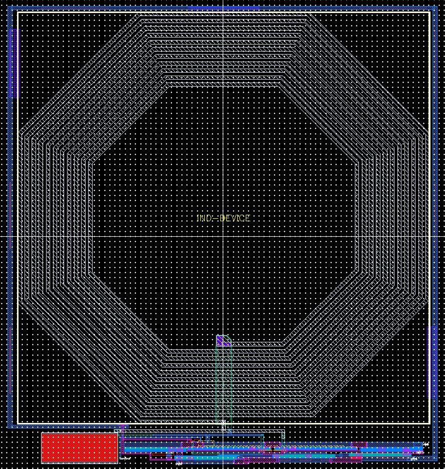 3.5 Layout of 433 MHz Sinusoidal Oscillator The majority of the space used for the layout of the oscillator was taken up by the inductor.