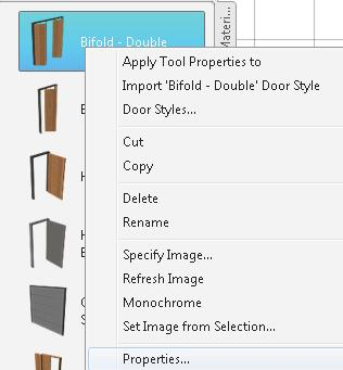 Floor Plans 5. Highlight the Bifold - Double door. Right click and select Properties. 6. Expand the Dimensions section.