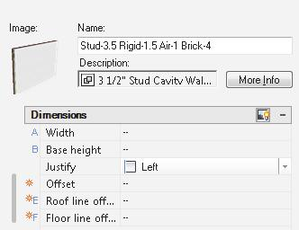 Floor Plans 25. Under Dimensions: Set Justify to Left using the drop-down. Press OK. This sets the location line for the wall. 26. Right click on the Stud-4 Rigid-1.