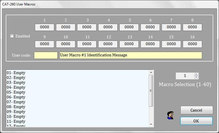 CAT-260 User Macros User macros are a series of commands, defined by the repeater owner. User macros permit the owner to customize certain aspects of repeater operation.
