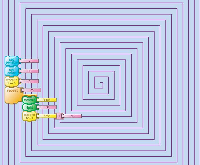 11 Spiral Spiral Spiral this is like doing forward 0 right 90 90 50 11 forward 10 right 90 forward 20 80 40 30 10 20