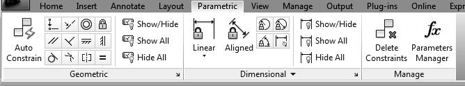 Workspace enabled. If AutoCAD Classic workspace is enabled, use the Parametric menu.