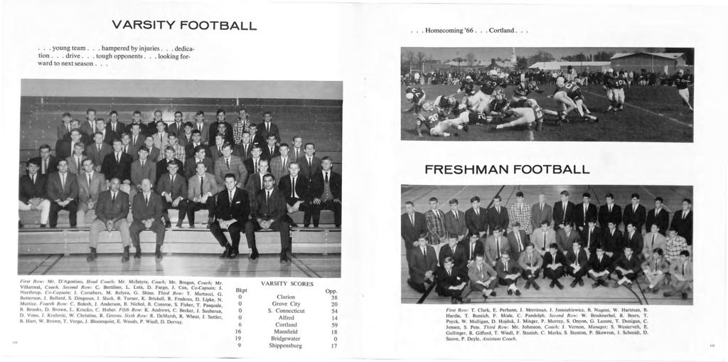 VARSITY FOOTBALL... Homecoming '66... Cortland...... young team... hampered by injuries... dedication... drive... tough opponents... looking forward to next season.