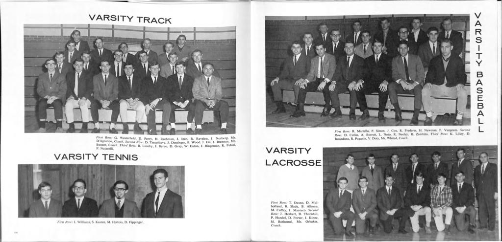 "VARSITY TRACK V A R S I T Y I R Revelen 1 Norbe rg, Mr. First Row: G. Westerfield, p. Perry, H. Rothman, 1. zzo,. F"" J Brennan, Mr. D'Agostino, Coach. Second Row: D. Tresohlavy, 1. Denlinger, B."
