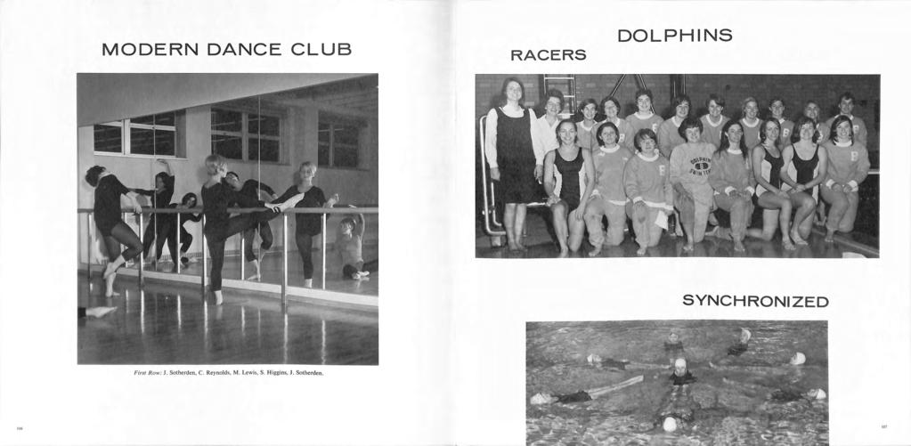MODERN DANCE CLUB RACERS DOLPHINS SYNCHRONIZED First R o w: J.