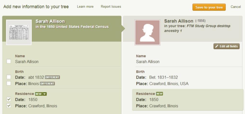 clicking on 1850 US Census link it brings up a comparison screen of what is in the document and what is in
