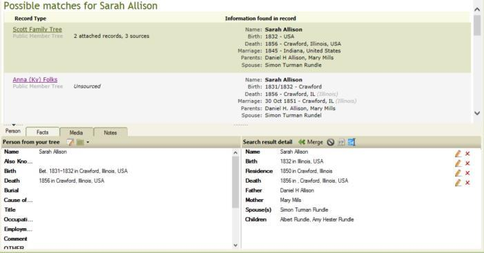 If you have a yearning or unfettered curiosity about what the other family trees may hold about Sarah Allison, you can then go to a family tree such as the Scott Family