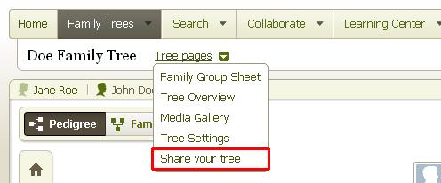 2. Hover your cursor over Tree pages and select Share your tree from the menu that drops down. 3.