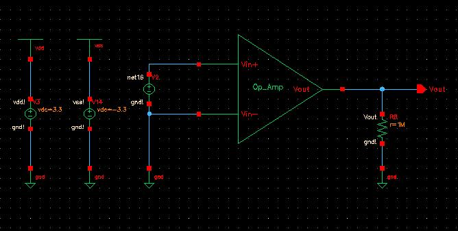 3.27V -3.29V Figure 19 Output swing simulation result (Transient) Output Resistance: The simulation of output resistance is approached by using the circuit shown in figure 20.