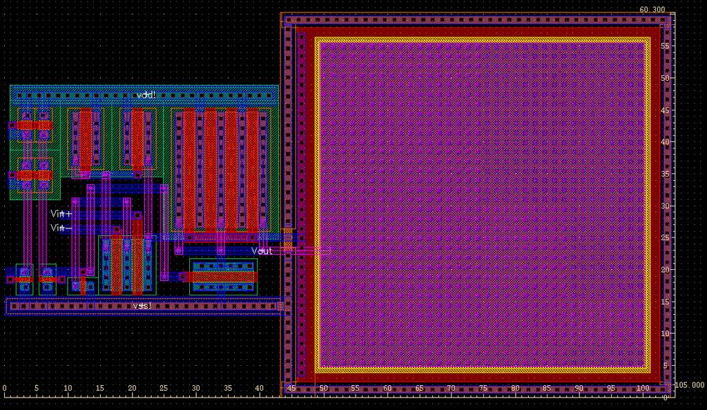 Layout Design The layout design of the op amp is shown in