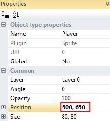 To position the Player object on the bottom of the screen, click on the space ship sprite. In the properties section click the box next to Position and change the position to 600, 650.