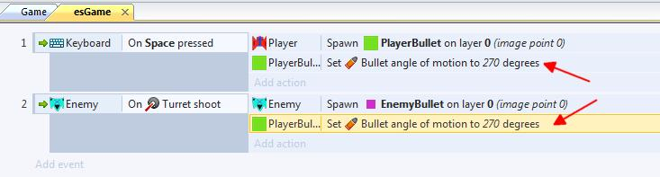 Just like you were able to copy and paste the enemy space ship, you can also copy and paste actions.