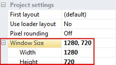 Also, in the Properties bar change the Window Size in the Project settings section to a width of 1280 and height of 720. Both of these numbers are using pixel units.