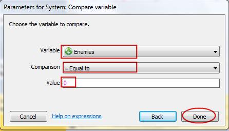 Adding a sub event is similar to adding any other Construct event. Select System for the object and select the Compare variable condition.