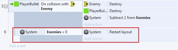 Add an action to your new sub event. Select System for the object and Restart Layout as the action. Notice how the sub event is indented inside the PlayerBullet on Collision with Enemy event.