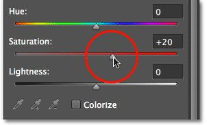 Click and drag thesaturation slider towards the right to boost the overall color saturation.