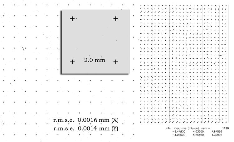 Preprint, page 12 of the grid plate scanned at a pixel size of 5 micrometers (5080 dpi) and the remaining residuals of the individual grid positions. 6.