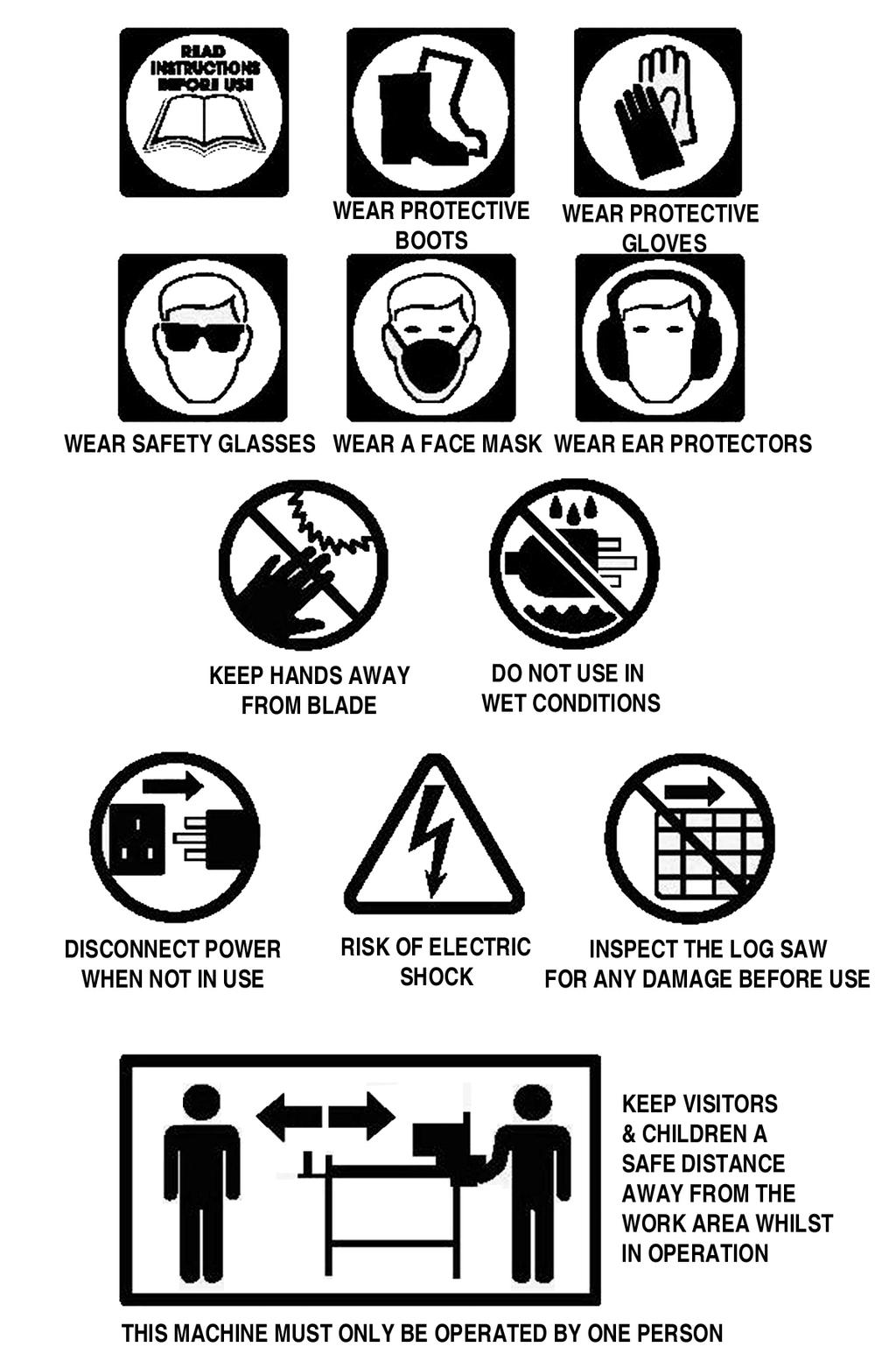 SAFETY SYMBOLS & PICTOGRAMS Please read all of the safety and operating instructions
