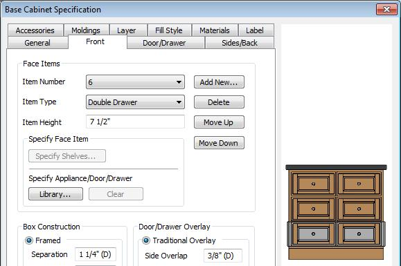 2. Click to place a base cabinet in the kitchen area, and select it. 3. Click the Open Object edit button to open the Base Cabinet Specification dialog.