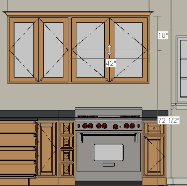 Click and drag a line of sight that intersects the group of cabinets that includes the range. 2. Zoom in on the kitchen.
