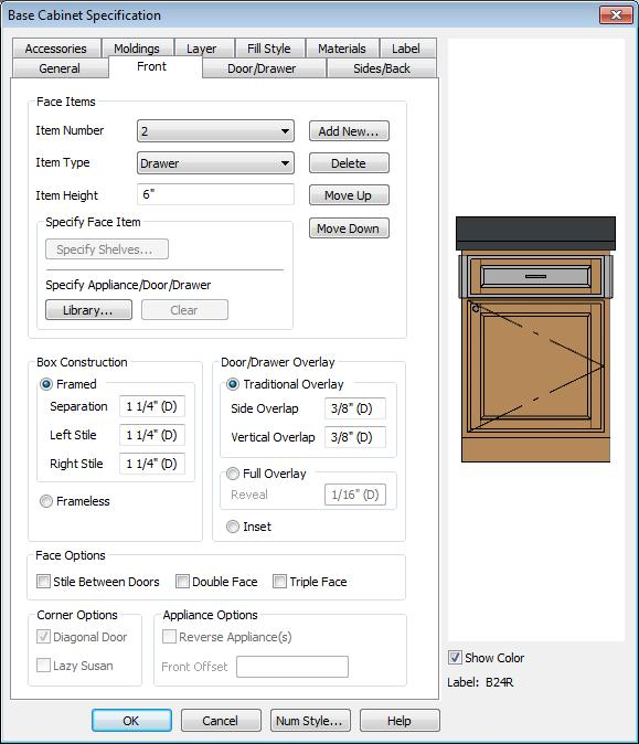 Chief Architect X6 User s Guide To edit cabinets in the Cabinet Specification dialog 1.