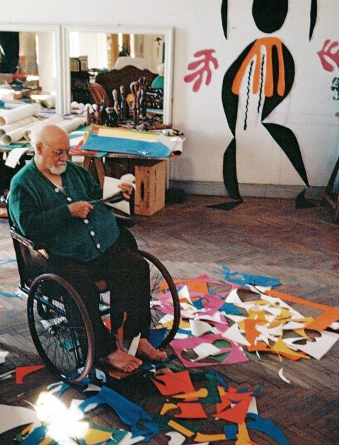 Drawing with Scissors When Henri Matisse got older, he became very sick. He eventually had to have abdominal surgery, and after that he was confined to a wheel chair or his bed.