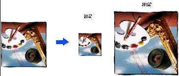Notice: when scaled out, an image does not give any more information. It is the same image but the pixels are bigger.
