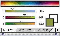To change the opacity of the filling color select the opacity slide-bar in the brushes palette window (to get that window