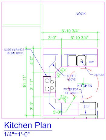 5. With the Kitchen Plan Detail active, create these linear Dimensions on the model.