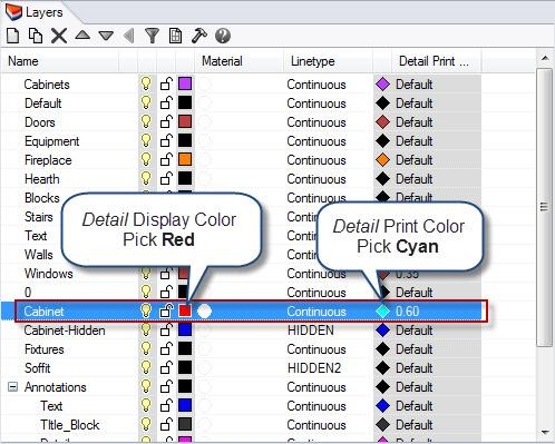Configuring Print Color 1. Make the First Floor Plan Detail active. 2. Highlight the Cabinet layer. Set the Detail Display Color to Red and set the Detail Print Color to Cyan.