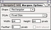 Marquee (continued) You can set precise marquee options of Fixed Size, or Constrained Aspect Ratio from the pull-down arrow in the palette.