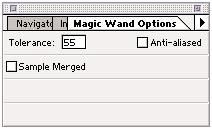 Magic Wand Sample Merged is unchecked in this figure, so the Magic Wand will only use the values of the active layer to create a selection.