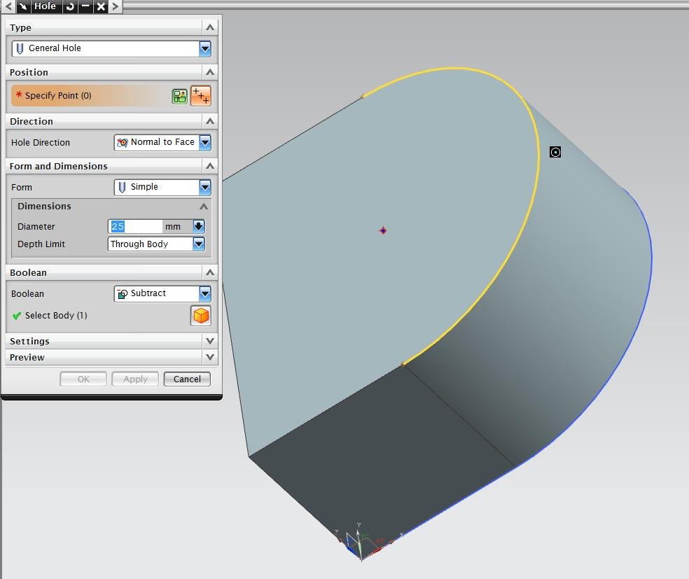 Adding Features Now that you have a solid part, various features can be added to modify the part. The features covered in this section include Holes, Chamfers and Edge Blends (also called Fillets).