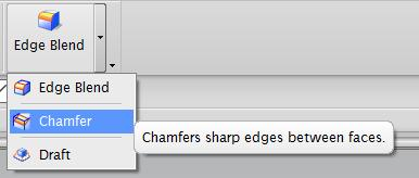 Chamfer Chamfers are used to add bevels to sharp edges. To add a chamfer to one side of the object, select the Chamfer option from the down arrow next to the Edge Blend button in the Menu (Figure 24).