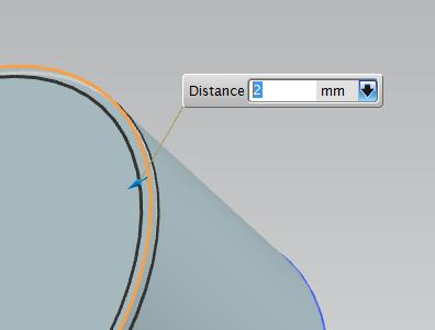 Select an edge to get a preview and the Distance dialog (Figure 25). Figure 25 - Chamfering In this dialog, you can set the distance to chamfer.
