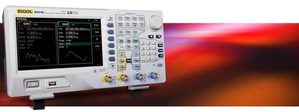 DG4000 Series Function/Arbitrary Waveform Generator Maximum output frequency: 200MHz, 160MHz, 100MHz, 60MHz 500MSa/s sample rate, 14 bit vertical